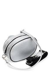 Поясная женская сумка серебряная из экокожи (10-26)