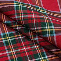 Новогодняя красная ткань-шотландка для отделки и декора ( шторная ткань в клетку)