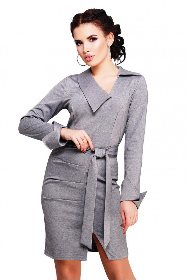 c4a97e5509d Стильное серое офисное платье с поясом