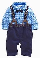 Комплект нарядный клетка брюки+рубашка+подтяжки (гол) 70,90,95