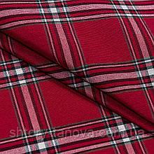 Новогодняя красная ткань для отделки и декора клетка классика крупная Ткани для штор на отрез