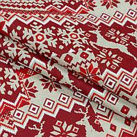 Новогодняя ткань для декора хлопок красная