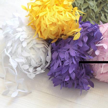 Лента с листиками МИКС цветов, декор
