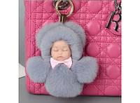 Меховой брелок на сумку Куколка Код:163-43918896