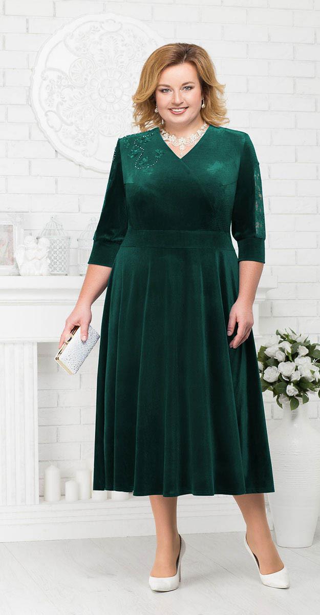 Платье Ninele-2187/2 белорусский трикотаж, зеленый, 56