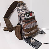 Рюкзак сумка на одно плечо 10 л армейский коричневый, фото 4