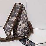 Рюкзак сумка на одно плечо 10 л армейский коричневый, фото 7