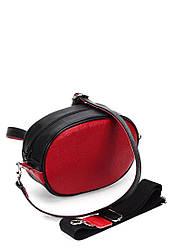 Поясная женская сумка черная с красным кожаная (10-27)