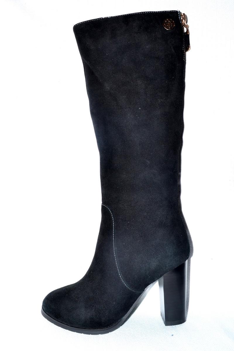 550420df8 Модные сапоги женские зимние замшевые черные Erisses со скидкой -  Интернет-магазин