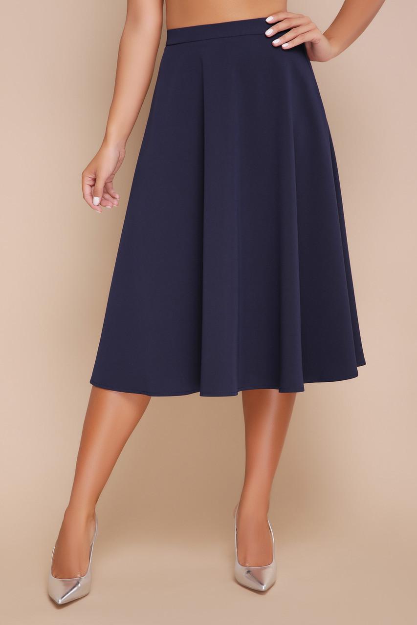 Элегантная юбка полусолнце ниже колен мод. №19К темно-синяя