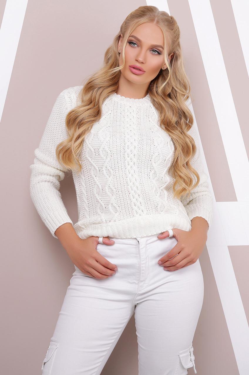 Женский ажурный вязаный свитер молочного цвета, большой размер