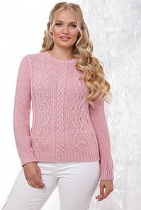 Нарядный женский вязаный свитер с круглой горловиной цвета светлая роза