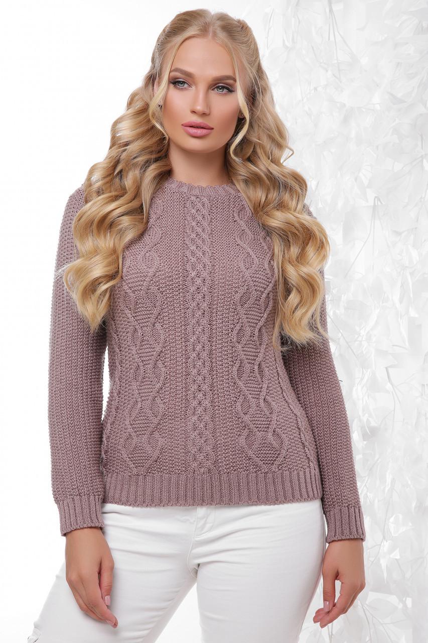 Универсальный женский вязаный однотонный свитер большого размера цвет фрез