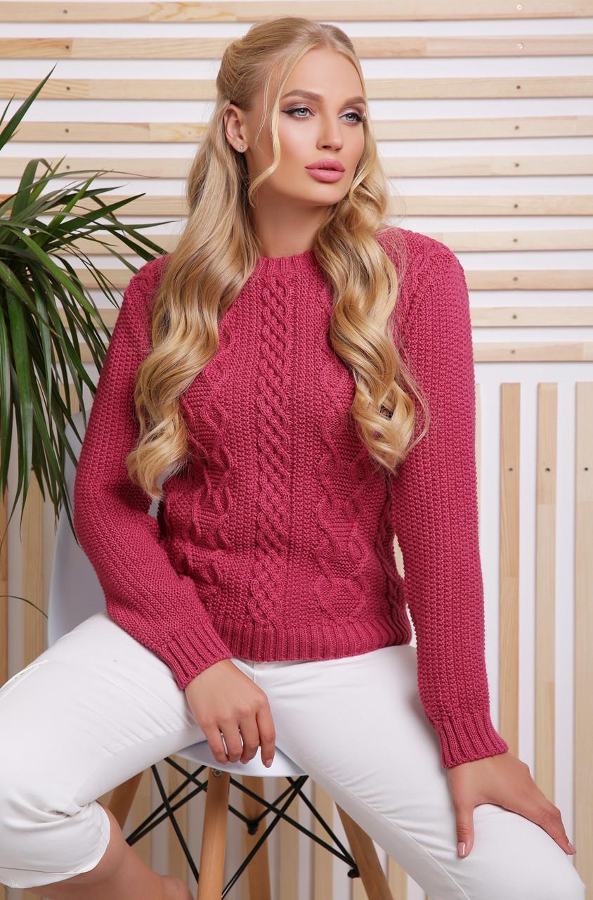 Ажурный вязаный женский свитер однотонный сиреневый, большой размер