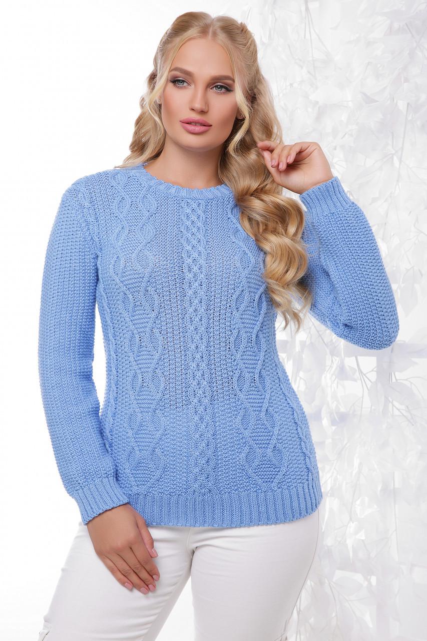 Универсальный женский вязаный свитер большого размера однотонный голубой