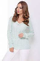 Красивый женский вязаный свитер треугольной горловиной однотонный мята