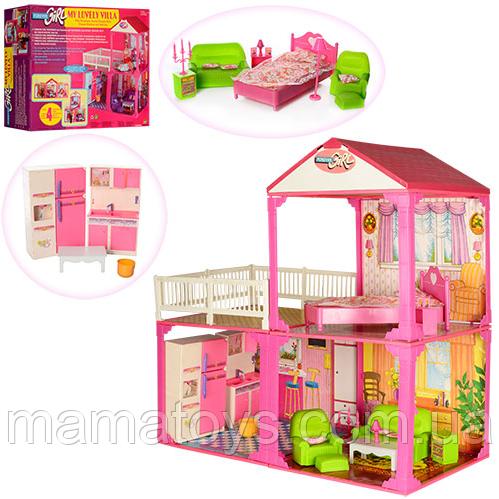 Кукольный дом  6982B2 этажа, 81-82-40,5 см, 3 комнаты, мебель, для куклы 29 см