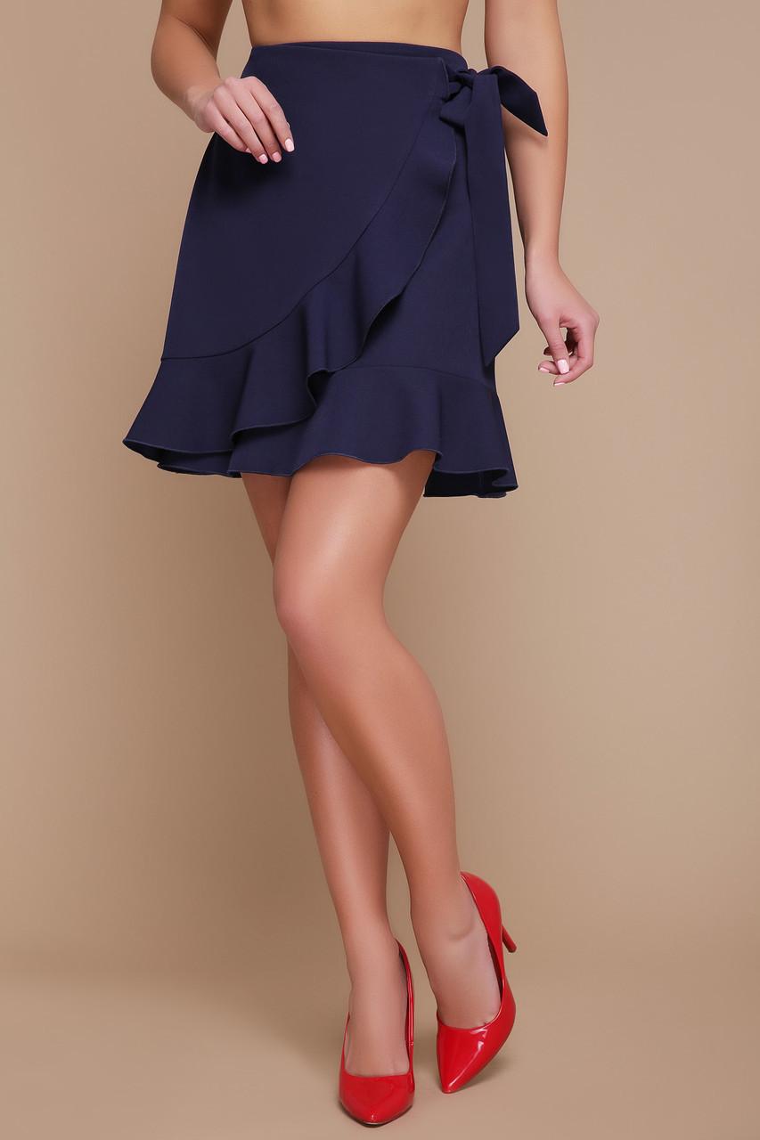 Стильная темно-синяя короткая юбка на запах с воланами мод. №36 (клеш)