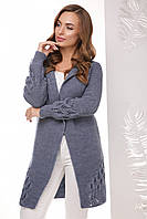 Универсальный вязаный женский кардиган на одну пуговицу цвет светлый джинс