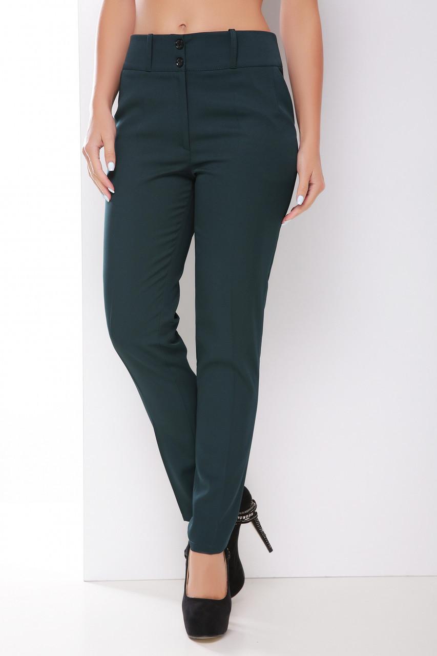 Классические однотонные женские прямые брюки темно-зеленые