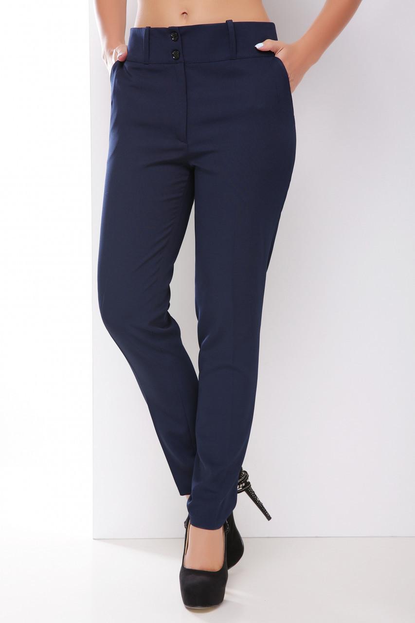 Деловые однотонные женские брюки прямые средней посадки темно-синие
