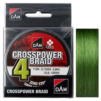 Шнур DAM CROSSPOWER 4-BRAID 110м  (green)