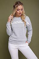 Стильная женская трикотажная кофта-свитшот со шнуровкой на груди Холли д/р светло-серая