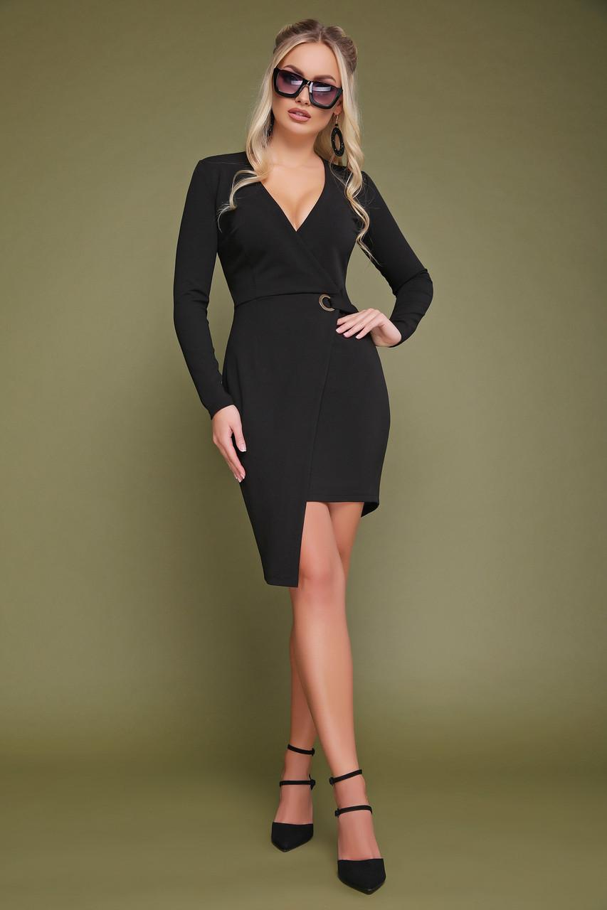 Черное платье на запах с длинными рукавами асимметричное Виолетта д/р