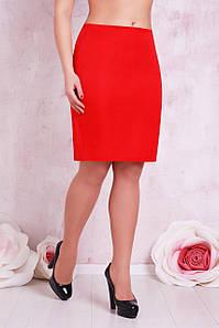 Классическая прямая красная юбка выше колен мод. №1 Б большие размеры