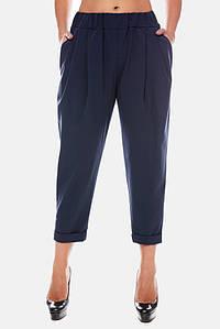 Женские деловые брюки большие размеры темно-синее