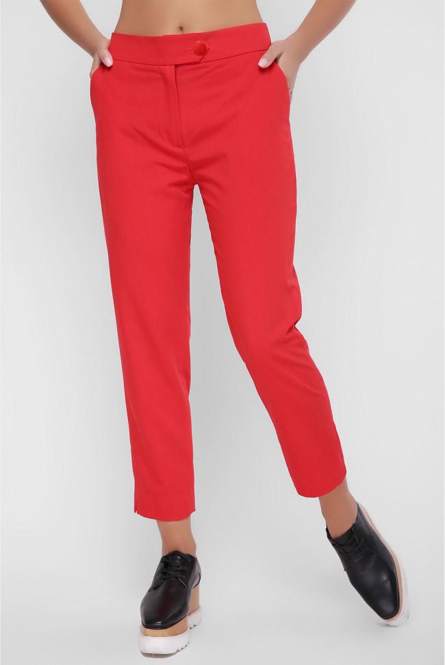 Деловые женские брюки с карманами красные