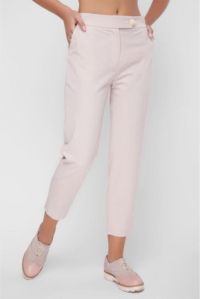 Прямые женские брюки с карманами бежевые