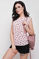 """Модная женская прямая розовая майка с принтом Котики """"Belle"""""""