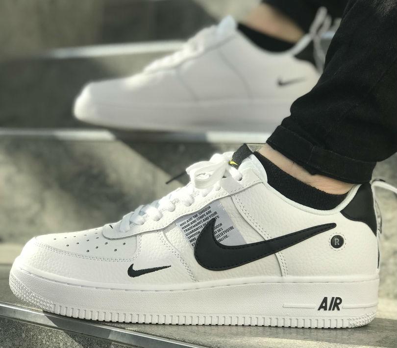 bdea098c Nike Air Force 1 '07 Lv8 Utility White Black | мужские кроссовки; кожаные;