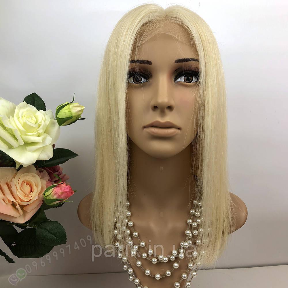 Натуральный парик каре блонд на сетке, имитация кожи головы