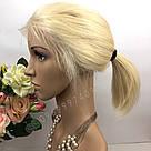 Натуральный парик каре блонд на сетке, имитация кожи головы, фото 3