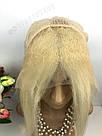 Натуральный парик каре блонд на сетке, имитация кожи головы, фото 5
