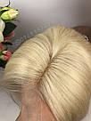 Натуральный парик каре блонд на сетке, имитация кожи головы, фото 6