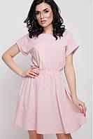 """Летнее легкое платье по фигуре в горошек с коротким рукавом """"Angelica"""", персиковое"""
