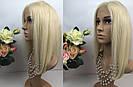 Натуральный парик каре блонд на сетке, имитация кожи головы, фото 8
