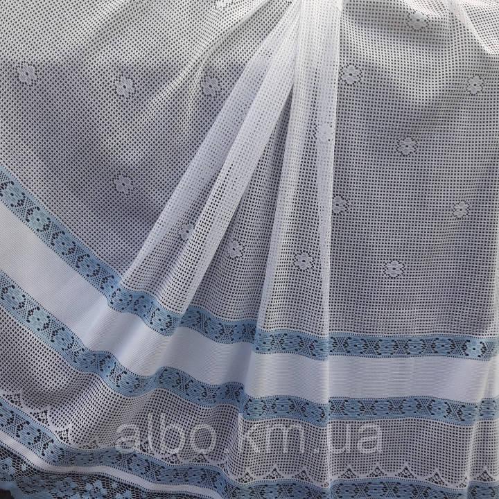 Голубая тюль сетка в кухню, спальню
