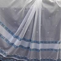 Голубая тюль сетка в кухню, спальню, фото 1