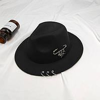 Шляпа женская фетровая Федора с устойчивыми полями, кольцами и подвесками черная