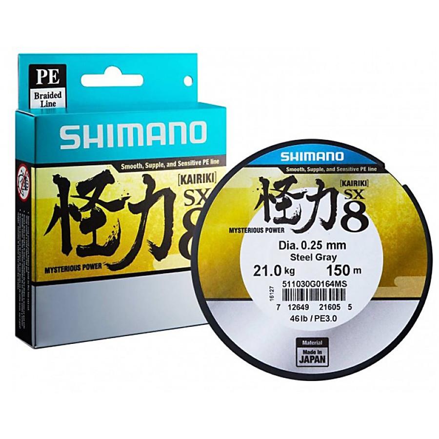 Шнур Shimano Kairiki SX8  150мм  0.12мм  7.0кг Steel Grey