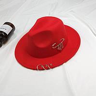 Шляпа женская фетровая Федора с устойчивыми полями, кольцами и подвесками красная