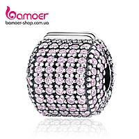 "Шарм-стоппер Pandora Style (стиль Пандора) ""Розовый бочонок паве"""