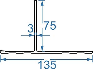 Алюминиевый профиль для корпуса из панелей 135х75х3 AS