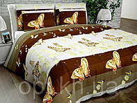 Бязь Люкс Коричневый с бабочками N6678