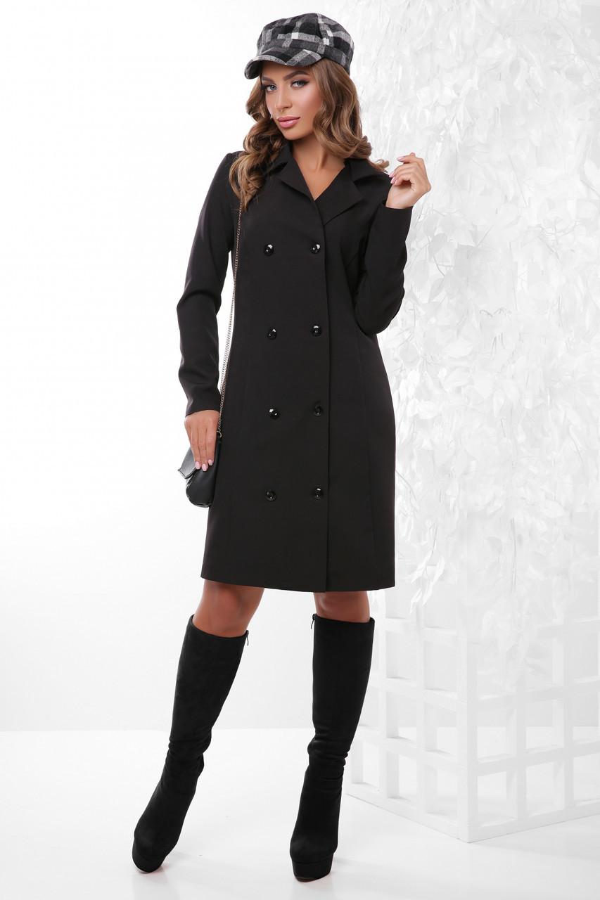 Женский длинный жакет-блейзер в деловом стиле черный