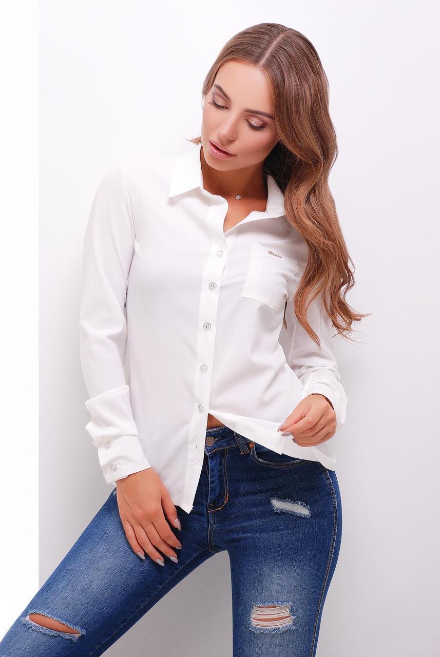 19b87b4967c Женская офисная рубашка с длинными рукавами и одним карманом цвет молоко -  Интернет-магазин